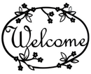 Village Wrought Iron WEL-164 Floral - Welcome Sign Medium