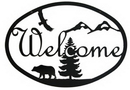 Village Wrought Iron WEL-193 Bear - Welcome Sign Medium