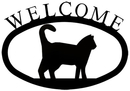 Village Wrought Iron WEL-6-S Cat - Welcome Sign Small