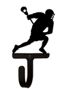 Village Wrought Iron WH-192-S Lacrosse Player - Wall Hook Small