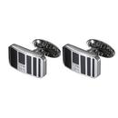 Caseti Sunderland Stainless Steel and Black Enamel Cufflinks