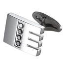 Caseti Thatcher Stainless Steel and Black Crystal Cuff Links