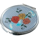 Visol Bouquet Stainless Steel Compact Mirror with Floral Design