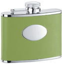 Visol Lily Pad Light Green Leather Stainless Steel 4oz Hip Flask