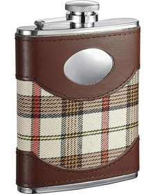 Visol Braw Leather, Stainless Steel & Cloth 6oz Flask