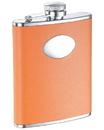 Visol Sunbeam Orange Leather Stainless Steel 6oz Hip Flask