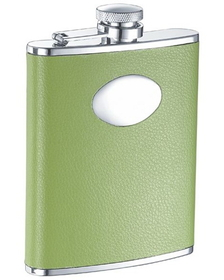 Visol Lily Pad Light Green Leather 6oz Flask