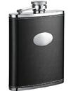 Visol Eclipse Black Leather Hip Flask - 18 oz