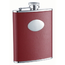Visol Sienna Red Leather Stainless Steel 6oz Hip Flask