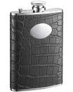 Visol Noir Black Crocodile Leather Hip Flask - 8 oz