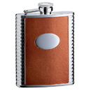 Visol Compton 6oz Brown Leather Stainless Steel Hip Flask