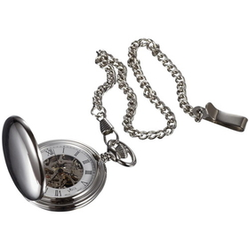Visol Quinn Polished Chrome Mechanical Pocket Watch