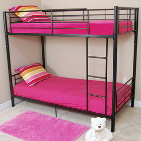 Walker Edison BTOTBL Sunset Twin/Twin Bunk Bed - Black, Stylish contemporary design (Price/Each)