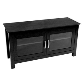 "Walker Edison W44CFDBL 44"" Columbus Wood TV Console - Black, Accommodates most flat-screen TV's up to 52"""