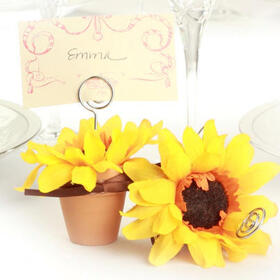 Wedding Belle Favors WB367 Sunny Sunflower Terra Cotta Pot Place Card Holders (Set of 4)