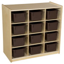 Wood Designs WD16122 (12) Cubby Storage with Brown Trays , 30.00