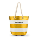 Weddingstar 4405-45 Bliss Striped Tote - Metallic Gold and White