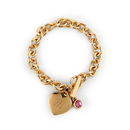 Weddingstar 4450-55 Matte Gold Toggle Charm Bracelet with Gemstone Charm