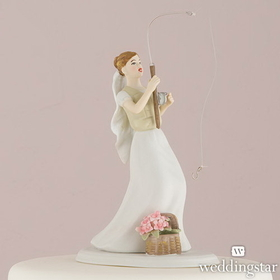 "Weddingstar 7105 ""Fishing"" Bride Cake Topper - Caucasian"