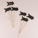 Weddingstar 9077 Wooden Black Board Stick in Directional Arrow Shape - Natural Finish