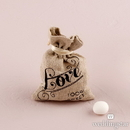 Weddingstar 9116 Mini Linen Drawstring Pouch with Vintage Infused Love Print