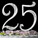 Elegance by Carbonneau 25-Sparkle-Gold 25th Anniversary or Birthday Crystal Accented Cake Top