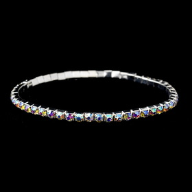 Elegance by Carbonneau Anklet-2-S-AB Silver AB Rhinestone Anklet 2