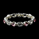 Elegance by Carbonneau B-10416-Pink Beautiful Silver Stretch Bracelet with Pink Crystals 10416