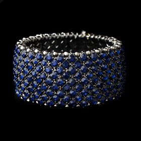 Elegance by Carbonneau b-1330-navy Navy Blue Stretch Bracelet 1330