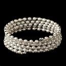 Elegance by Carbonneau B-1425-RD-WH Rhodium Rhinestone & White Pearl 5 Row Coil Stretch Bracelet 1425