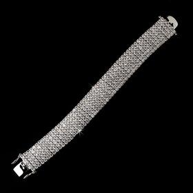 Elegance by Carbonneau B-2233-Silver-Clear Fabulous Silver Clear Crystal Bracelet 2233