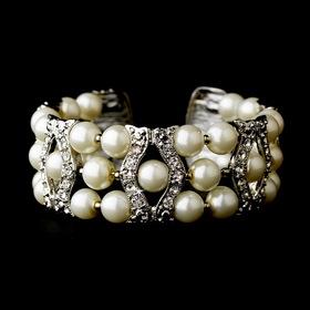 Elegance by Carbonneau B-2519-AS-Cream Silver Clear & Cream Coil Cuff Pearl Bracelet 2519