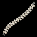 Elegance by Carbonneau B-4968-S-WH Silver Rhinestone & White Pearl Floral Bracelet 4968