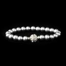 Elegance by Carbonneau B-720-S-Grey Grey Glass Pearl Pave Ball Bridal Bracelet 720