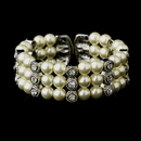 Elegance by Carbonneau B-721-AS-Ivory Antique Silver Ivory Pearl & Rhinestone Bridal Cuff Bracelet 721