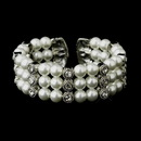 Elegance by Carbonneau B-721-AS-White Antique Silver White Pearl & Rhinestone Bridal Cuff Bracelet 721