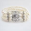 Elegance by Carbonneau B-7418-AS-FW Antique Rhodium Silver 3 Row Ivory Pearl CZ Bracelet 7418
