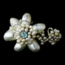Elegance by Carbonneau B-7827-Pearl Beautiful Pearl & AB Floral Bracelet 7827