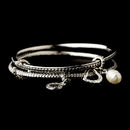 Elegance by Carbonneau B-7977 Silver Bangle with Heart & Pearl Charm Designer Inspired Bracelet B 7977