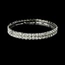 Elegance by Carbonneau B-8012-Clear Alluring Silver 2 Row Clear Rhinestone Stretch Bracelet 8012