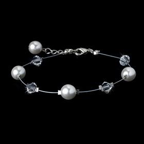Elegance by Carbonneau B-8367 Swarovski Crystal & Pearl Bracelet 8367 White