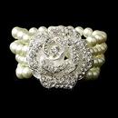 Elegance by Carbonneau B-8455-Silver-Ivory Bracelet 8455 Silver Ivory Pearl Stretch