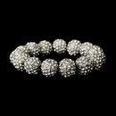 Elegance by Carbonneau b-8482-silver Silver Clear 12mm Pave Ball Stretch Bracelet 8482