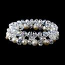 Elegance by Carbonneau B-8519-Ivory Clear Aurora Borealis & Pearl Bracelet 8519 Silver Ivory Aurora Borealis