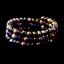 Elegance by Carbonneau B-8520-Amethyst Amethyst Aurora Borealis Crystals & Pink Pearls Wrap Bracelet 8520