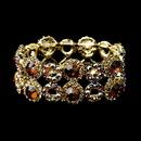 Elegance by Carbonneau B-8658-G-Brown Gold Brown & Clear Crystal Bridal Stretch Bracelet 8658
