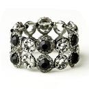 Elegance by Carbonneau B-8658-H-Black Hematite Black Crystal Bridal Stretch Bracelet 8658