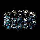 Elegance by Carbonneau B-8658-H-Turquoise Hematite Turquoise & Light Blue AB Crystal Bridal Stretch Bracelet 8658