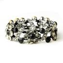 Elegance by Carbonneau B-8661-H-Black Hematite Black Crystal Bridal Stretch Bracelet 8661