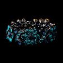 Elegance by Carbonneau B-8661-H-Turquoise Hematite Turquoise Blue Flower Vogue Crystal Rhinestone Stretch Bracelet 8661